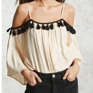 Off the shoulder shirt blouse fringe spaghetti